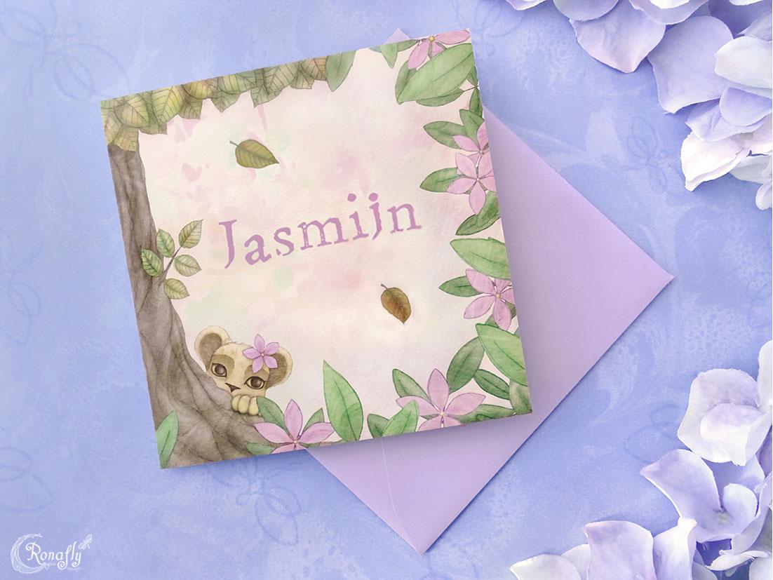 geboortekaart-jasmijn-voorkant-foto-ronafly-rowan-hogervorst