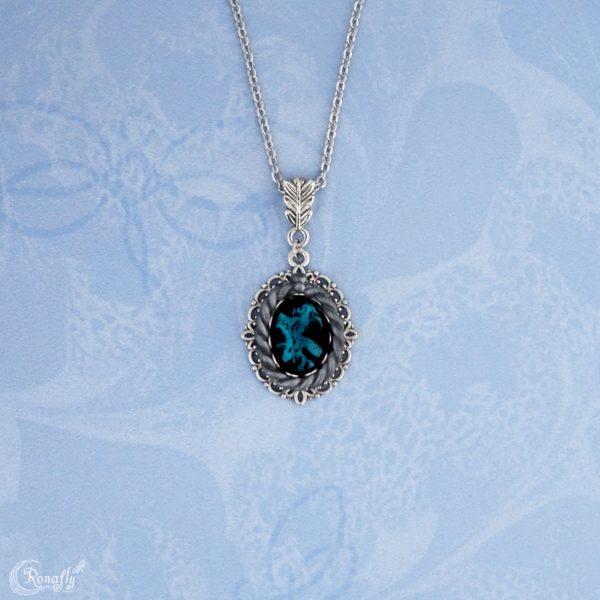 zwart blauw filigraan ketting Ronafly