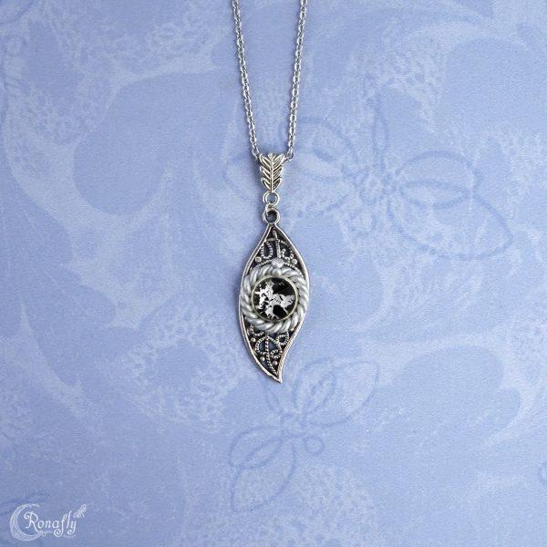 blad leaf hanger pendant zwart zilver - Ronafly