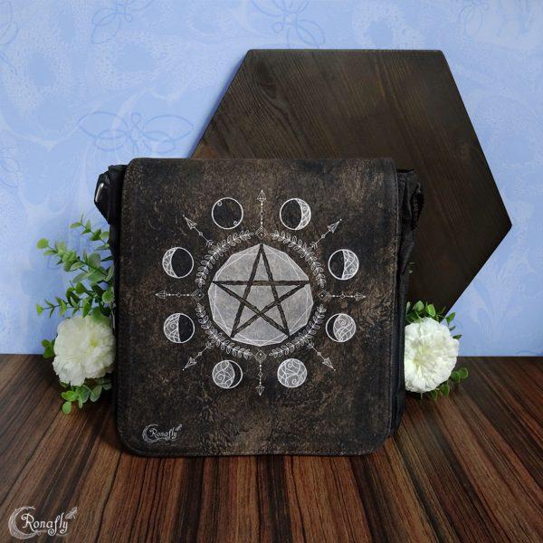 bruine schoudertas pentagram maanfasen zwart - Ronafly