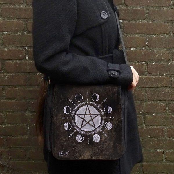 bruine schoudertas pentagram maanfasen zwart- Ronafly