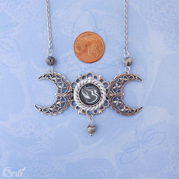 triple moon drievoudige maan ketting zilverblad jaspis - Ronafly