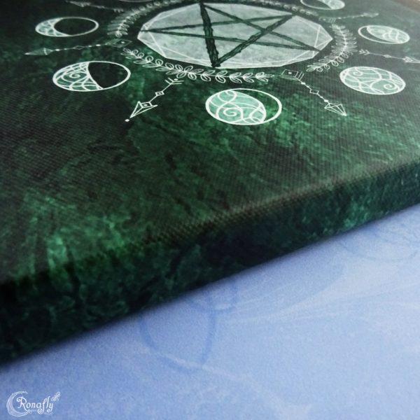 canvas print groen pentakel maanfasen Ronafly