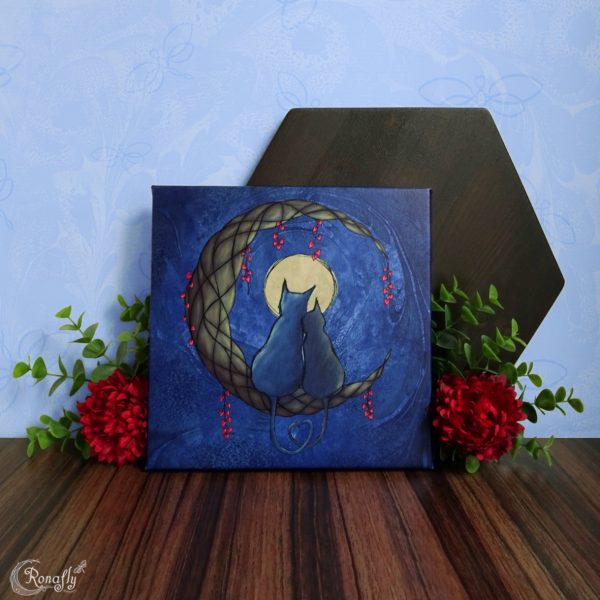 volle maan katten canvas - Ronafly