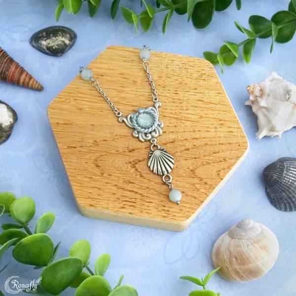 Schelp zee ketting Aquamarijn kralen - Ronafly