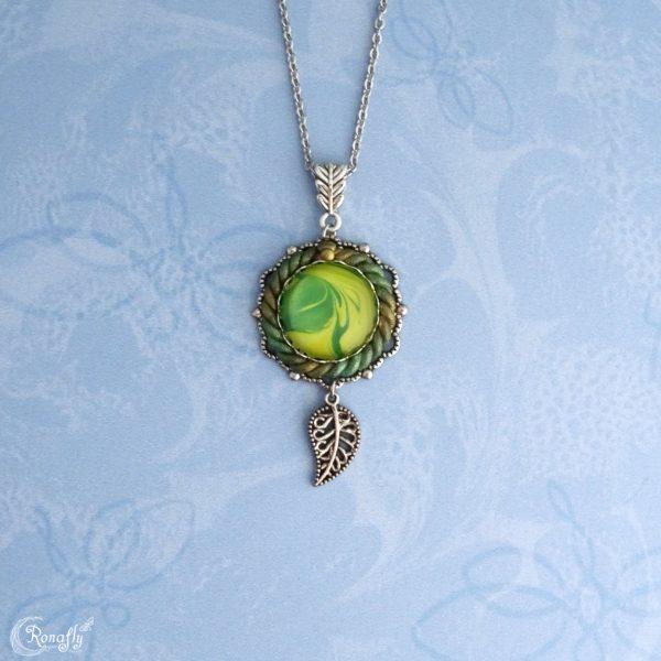 filigraan hanger blad bedel ketting groen geel - Ronafly