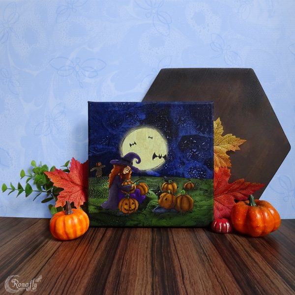 Halloween/Samhain canvas - Heks op het pompoenenveld - Ronafly