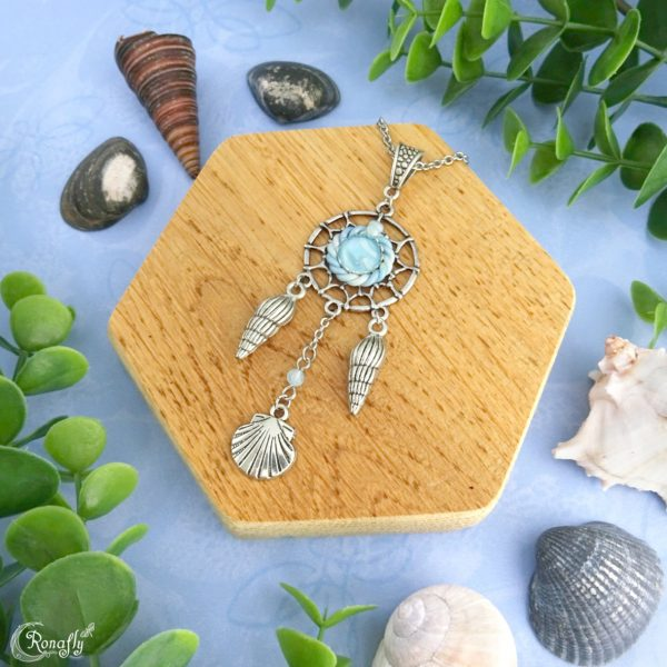 Zee dromenvanger ketting schelpen en Aquamarijn kraal - Ronafly